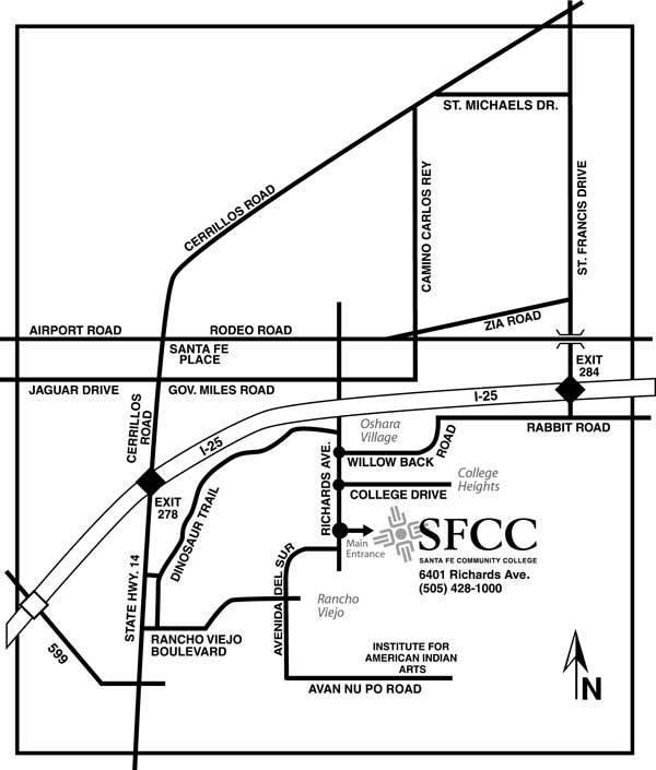 Map of roads leading to SFCC Campus
